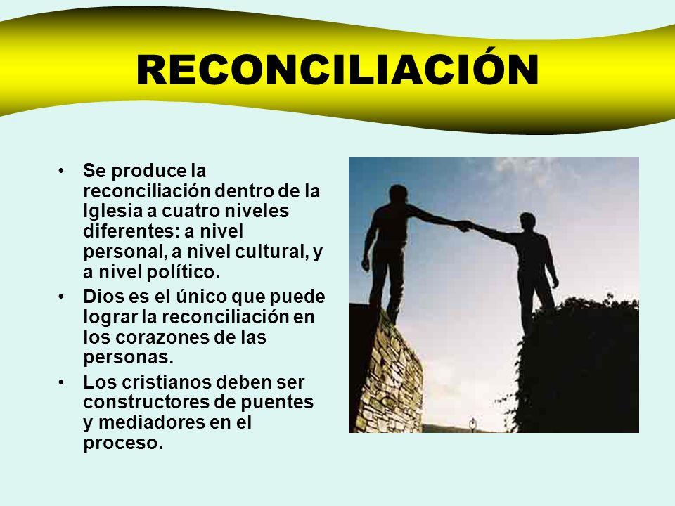 RECONCILIACIÓN Se produce la reconciliación dentro de la Iglesia a cuatro niveles diferentes: a nivel personal, a nivel cultural, y a nivel político.