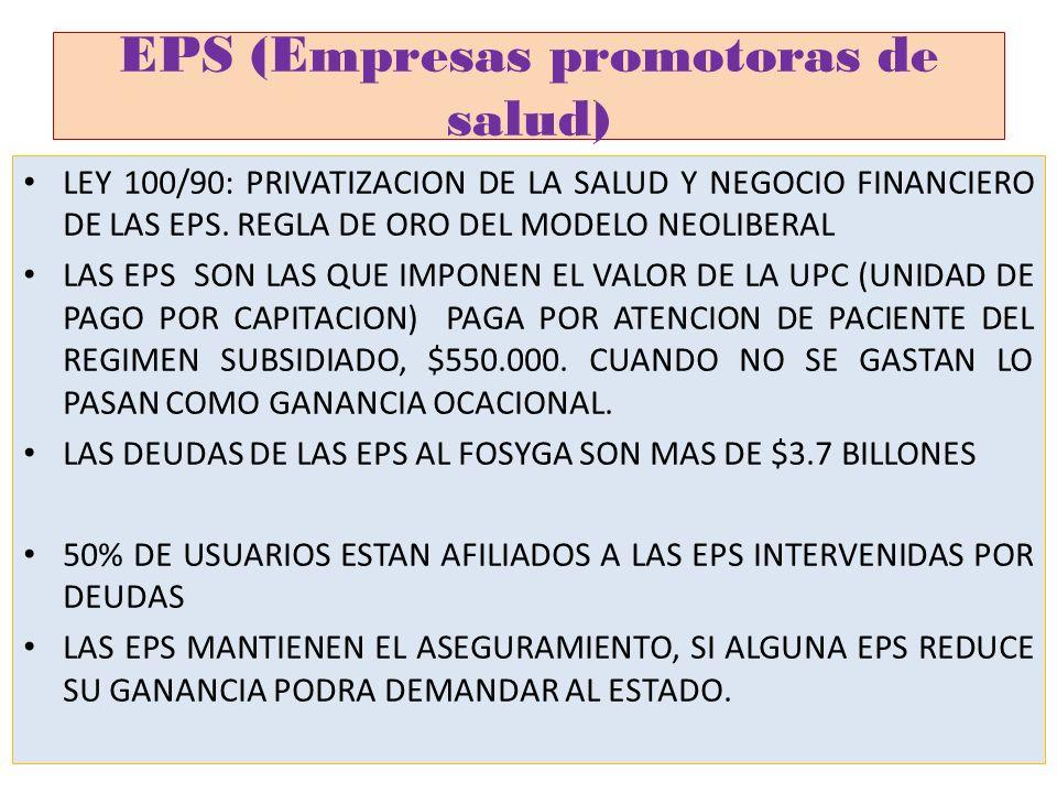 EPS (Empresas promotoras de salud) LEY 100/90: PRIVATIZACION DE LA SALUD Y NEGOCIO FINANCIERO DE LAS EPS. REGLA DE ORO DEL MODELO NEOLIBERAL LAS EPS S