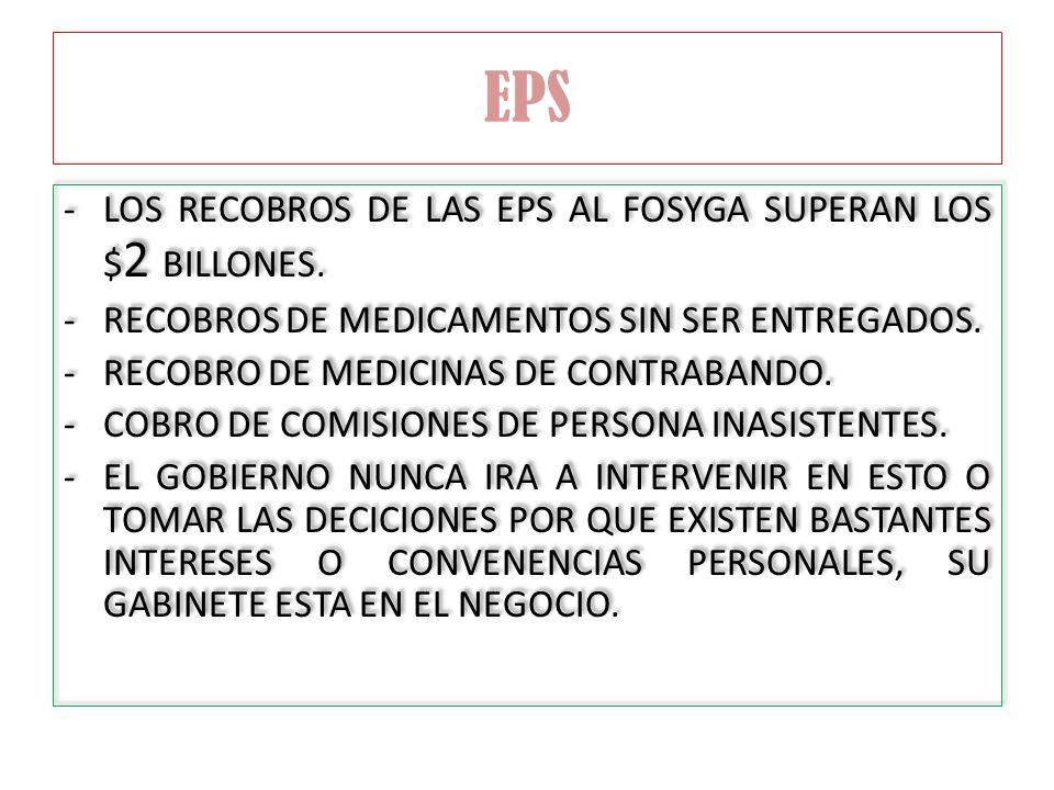 EPS -LOS RECOBROS DE LAS EPS AL FOSYGA SUPERAN LOS $ 2 BILLONES. -RECOBROS DE MEDICAMENTOS SIN SER ENTREGADOS. -RECOBRO DE MEDICINAS DE CONTRABANDO. -