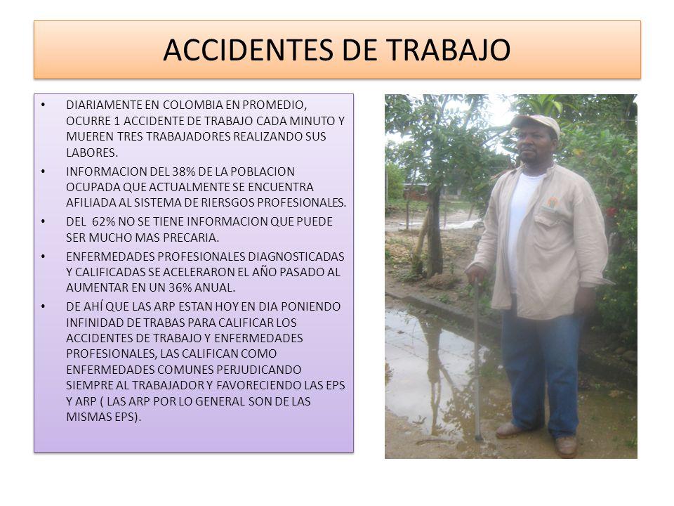 ACCIDENTES DE TRABAJO DIARIAMENTE EN COLOMBIA EN PROMEDIO, OCURRE 1 ACCIDENTE DE TRABAJO CADA MINUTO Y MUEREN TRES TRABAJADORES REALIZANDO SUS LABORES