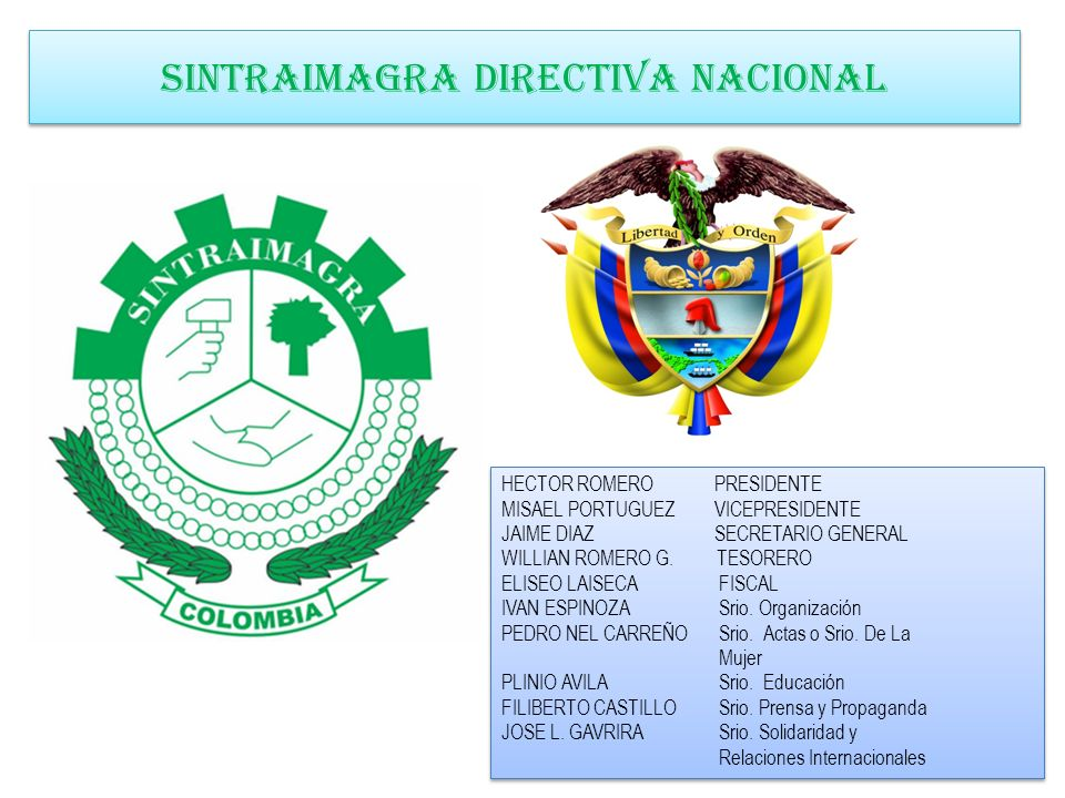 SINTRAIMAGRA DIRECTIVA NACIONAL HECTOR ROMERO PRESIDENTE MISAEL PORTUGUEZ VICEPRESIDENTE JAIME DIAZ SECRETARIO GENERAL WILLIAN ROMERO G. TESORERO ELIS