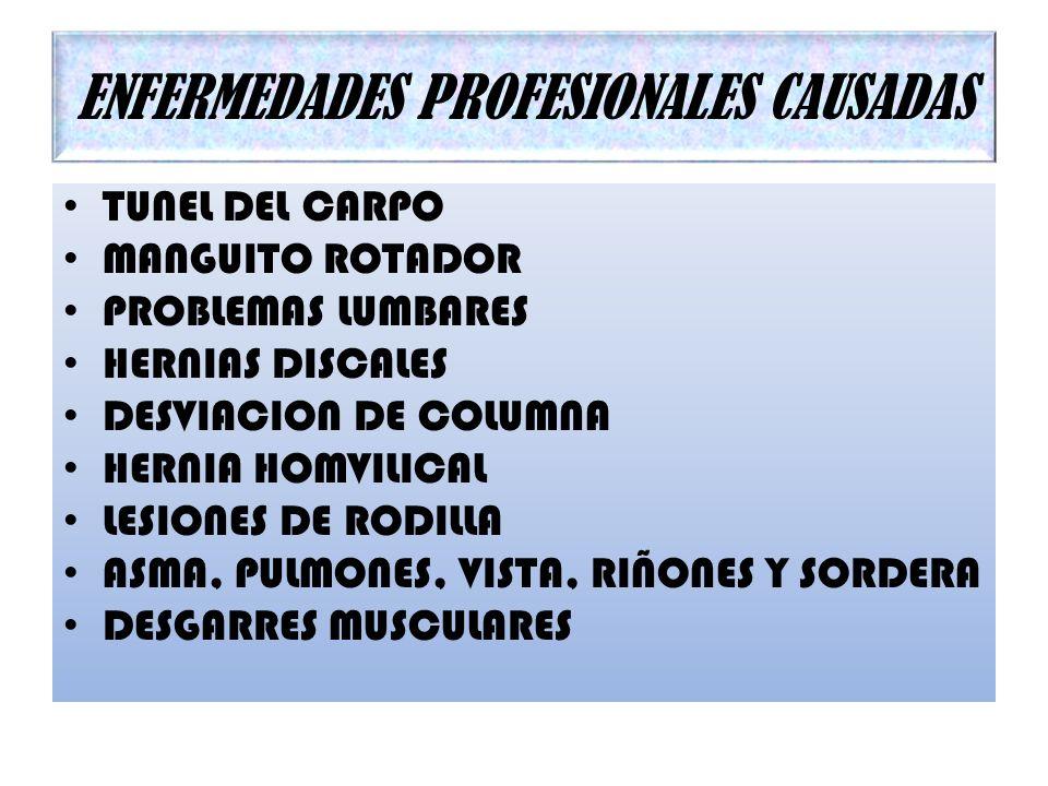 ENFERMEDADES PROFESIONALES CAUSADAS TUNEL DEL CARPO MANGUITO ROTADOR PROBLEMAS LUMBARES HERNIAS DISCALES DESVIACION DE COLUMNA HERNIA HOMVILICAL LESIO