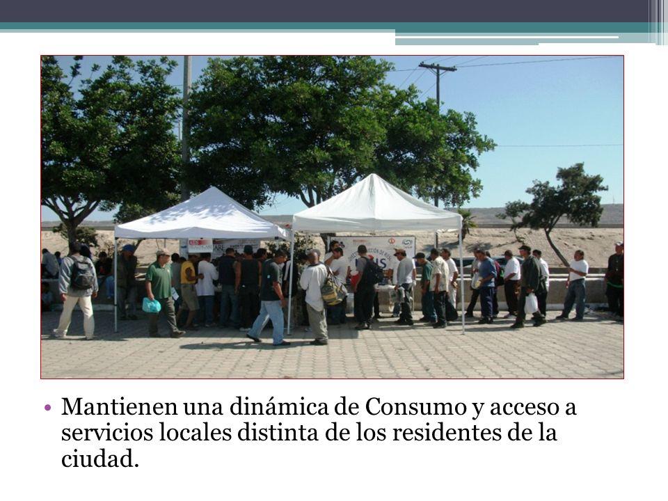 Mantienen una dinámica de Consumo y acceso a servicios locales distinta de los residentes de la ciudad.