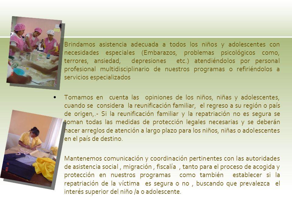 Brindamos asistencia adecuada a todos los niños y adolescentes con necesidades especiales (Embarazos, problemas psicológicos como, terrores, ansiedad,