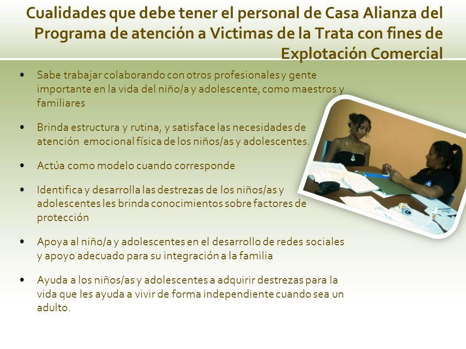 Cualidades que debe tener el personal de Casa Alianza del Programa de atención a Victimas de la Trata con fines de Explotación Comercial Sabe trabajar