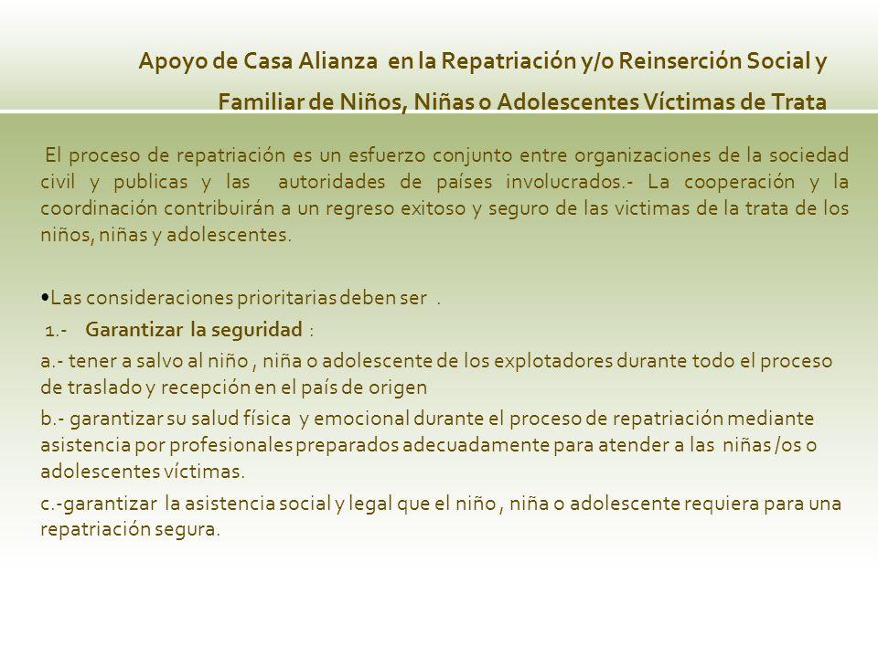Apoyo de Casa Alianza en la Repatriación y/o Reinserción Social y Familiar de Niños, Niñas o Adolescentes Víctimas de Trata El proceso de repatriación