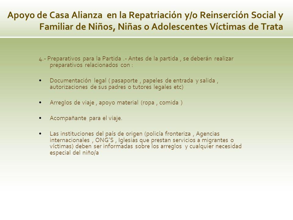 4.- Preparativos para la Partida.- Antes de la partida, se deberán realizar preparativos relacionados con : Documentación legal ( pasaporte, papeles d