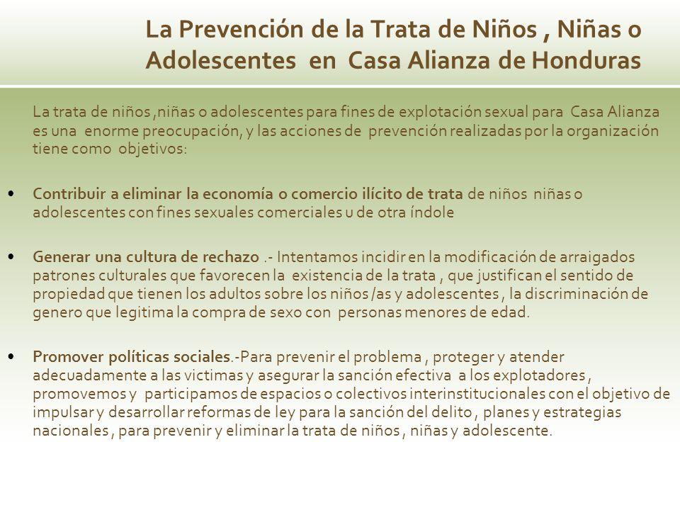 La Prevención de la Trata de Niños, Niñas o Adolescentes en Casa Alianza de Honduras La trata de niños,niñas o adolescentes para fines de explotación