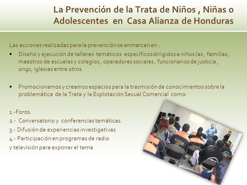 Las acciones realizadas para la prevención se enmarcan en : Diseño y ejecución de talleres temáticos específicos dirigidos a niños /as, familias, maes
