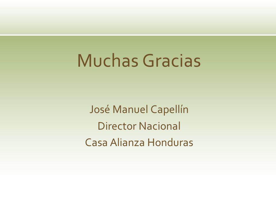 Muchas Gracias José Manuel Capellín Director Nacional Casa Alianza Honduras