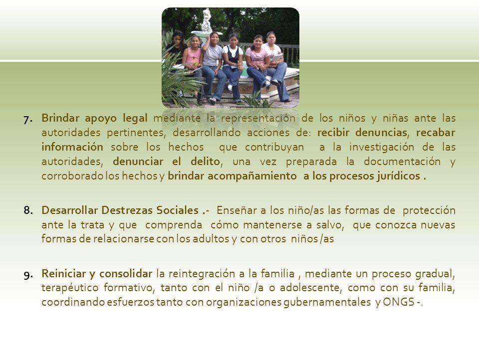 7.Brindar apoyo legal mediante la representación de los niños y niñas ante las autoridades pertinentes, desarrollando acciones de: recibir denuncias,