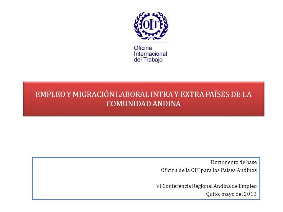 EMPLEO Y MIGRACIÓN LABORAL INTRA Y EXTRA PAÍSES DE LA COMUNIDAD ANDINA Documento de base Oficina de la OIT para los Países Andinos VI Conferencia Regi