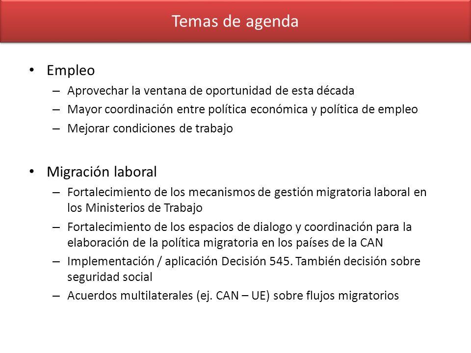 Temas de agenda Empleo – Aprovechar la ventana de oportunidad de esta década – Mayor coordinación entre política económica y política de empleo – Mejo