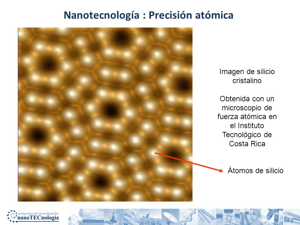 Nanotecnología : Precisión atómica Imagen de silicio cristalino Obtenida con un microscopio de fuerza atómica en el Instituto Tecnológico de Costa Ric