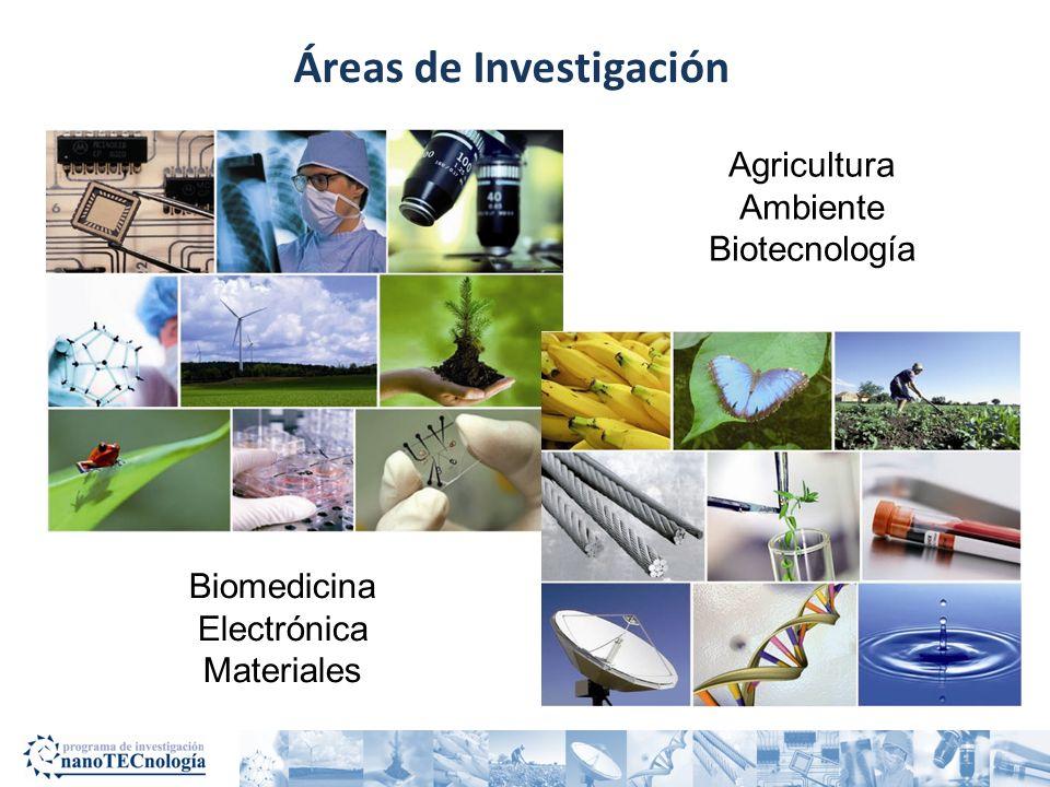 Áreas de Investigación Agricultura Ambiente Biotecnología Biomedicina Electrónica Materiales