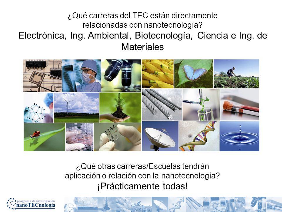 ¿Qué carreras del TEC están directamente relacionadas con nanotecnología? Electrónica, Ing. Ambiental, Biotecnología, Ciencia e Ing. de Materiales ¿Qu