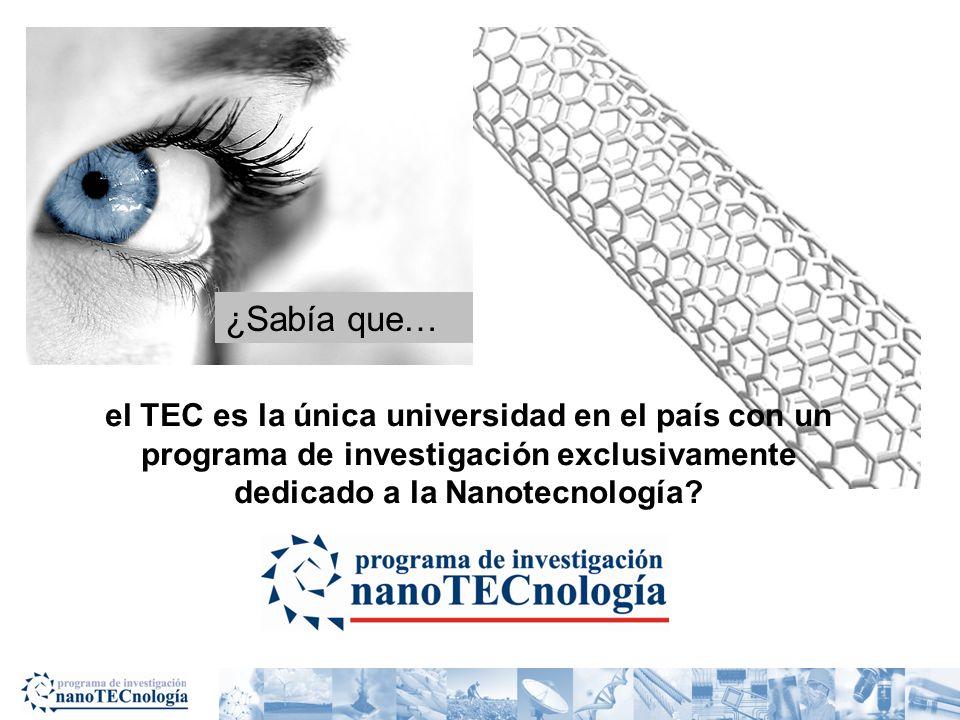 el TEC es la única universidad en el país con un programa de investigación exclusivamente dedicado a la Nanotecnología? ¿Sabía que…