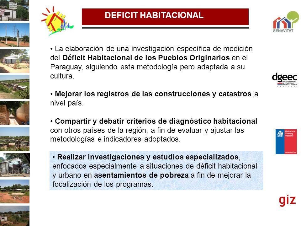 DEFICIT HABITACIONAL La elaboración de una investigación específica de medición del Déficit Habitacional de los Pueblos Originarios en el Paraguay, si