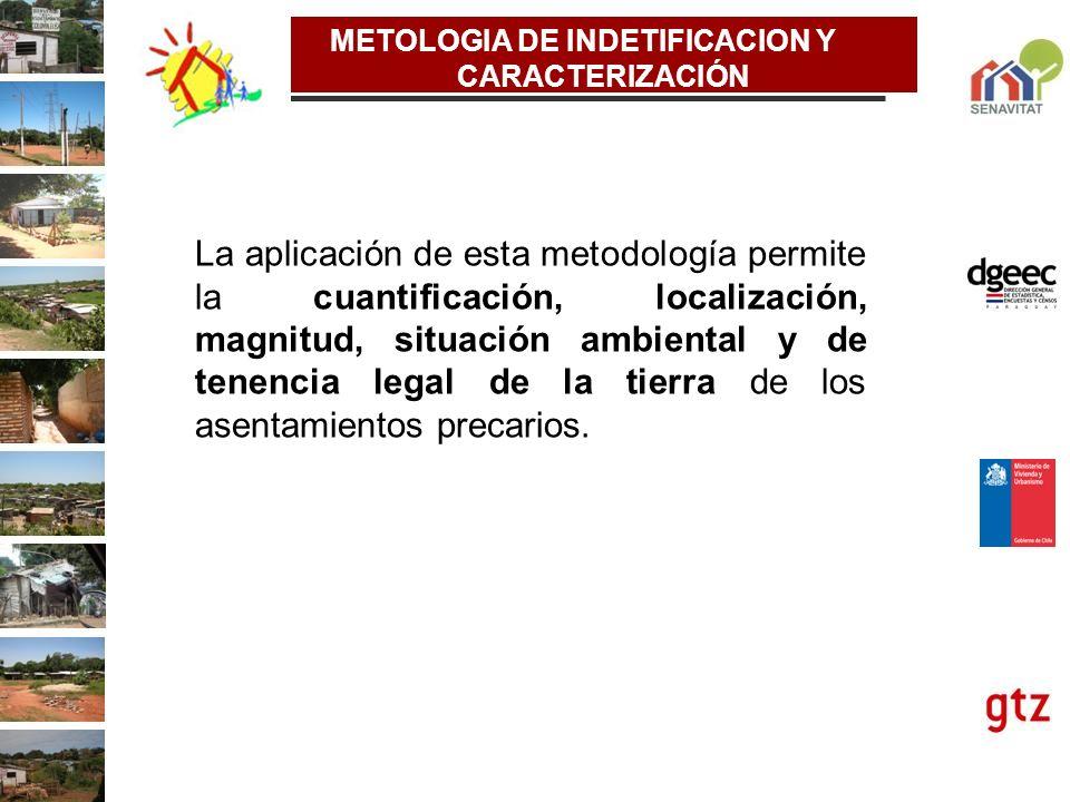 La aplicación de esta metodología permite la cuantificación, localización, magnitud, situación ambiental y de tenencia legal de la tierra de los asent