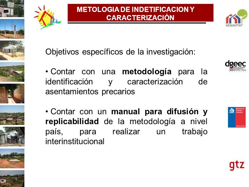 METOLOGIA DE INDETIFICACION Y CARACTERIZACIÓN Objetivos específicos de la investigación: Contar con una metodología para la identificación y caracteri
