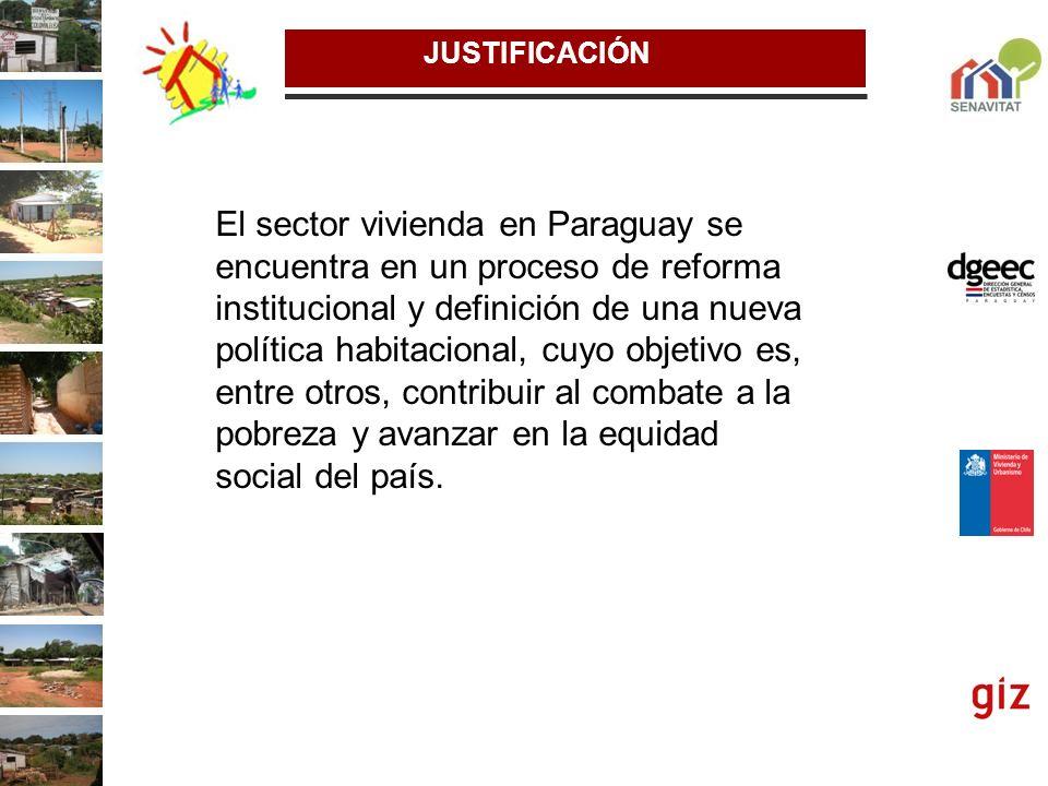 JUSTIFICACIÓN El sector vivienda en Paraguay se encuentra en un proceso de reforma institucional y definición de una nueva política habitacional, cuyo
