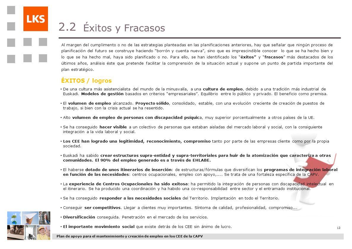 Plan de apoyo para el mantenimiento y creación de empleo en los CEE de la CAPV 13 Éxitos y Fracasos 2.2 Al margen del cumplimento o no de las estrateg