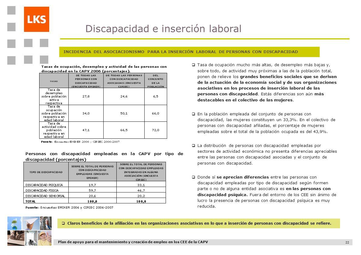 Plan de apoyo para el mantenimiento y creación de empleo en los CEE de la CAPV 22 Tasa de ocupación mucho más altas, de desempleo más bajas y, sobre t