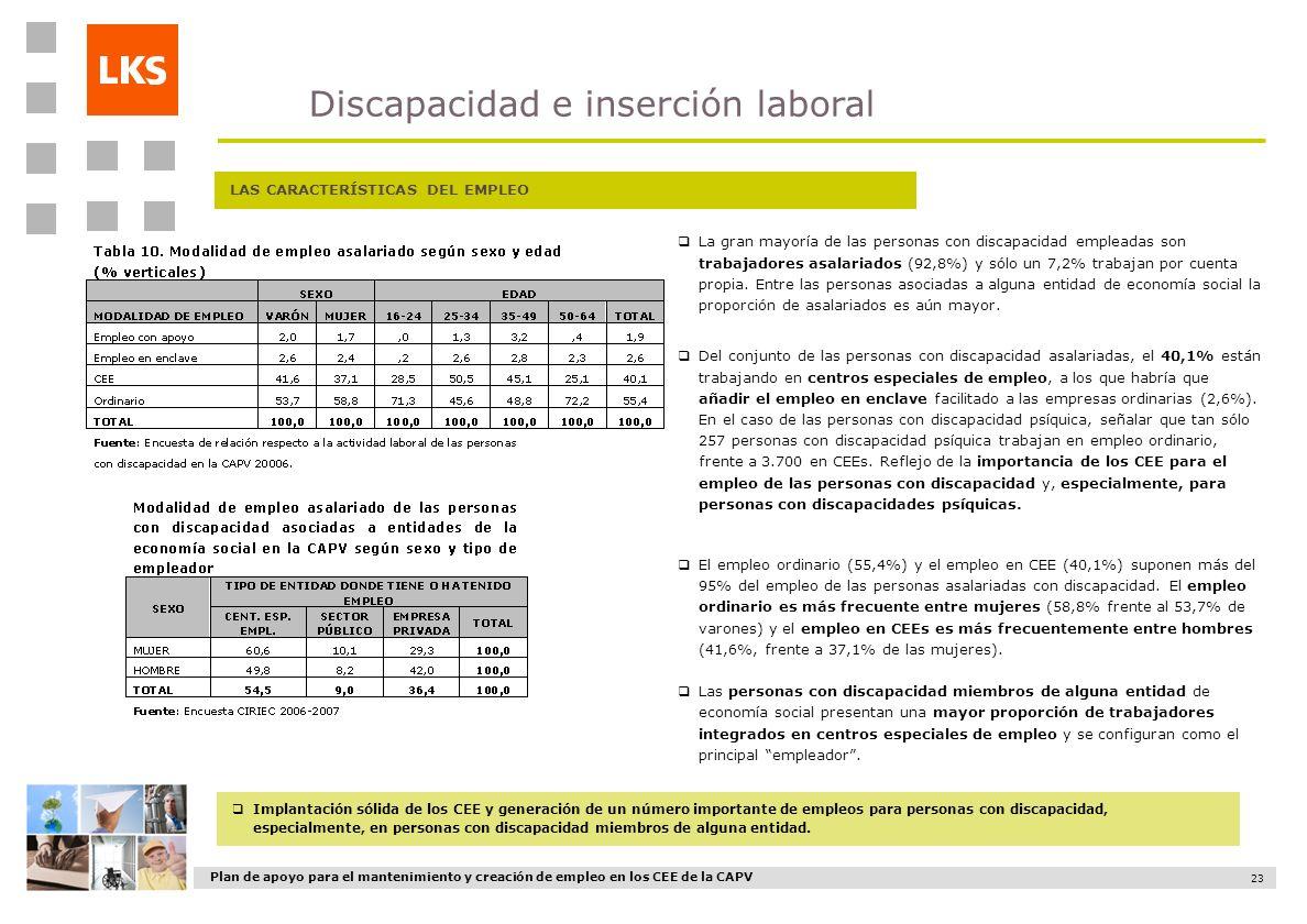 Plan de apoyo para el mantenimiento y creación de empleo en los CEE de la CAPV 23 LAS CARACTERÍSTICAS DEL EMPLEO La gran mayoría de las personas con d