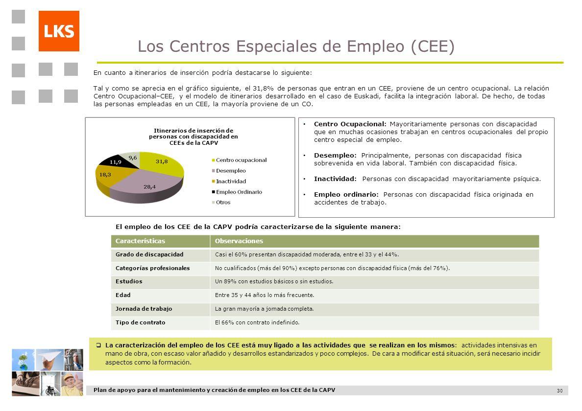 Plan de apoyo para el mantenimiento y creación de empleo en los CEE de la CAPV 30 Los Centros Especiales de Empleo (CEE) La caracterización del empleo