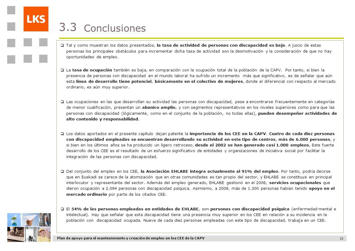 Plan de apoyo para el mantenimiento y creación de empleo en los CEE de la CAPV 33 Conclusiones 3.3 Tal y como muestran los datos presentados, la tasa