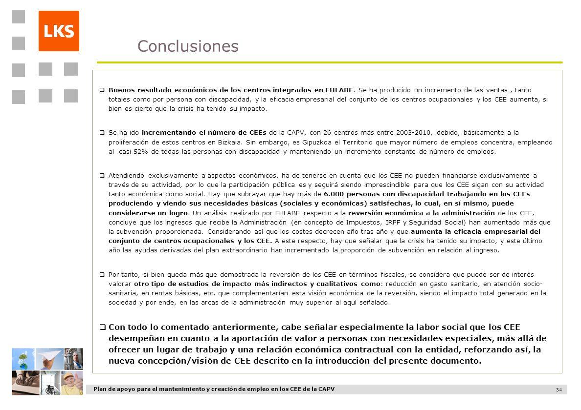 Plan de apoyo para el mantenimiento y creación de empleo en los CEE de la CAPV 34 Conclusiones Buenos resultado económicos de los centros integrados e