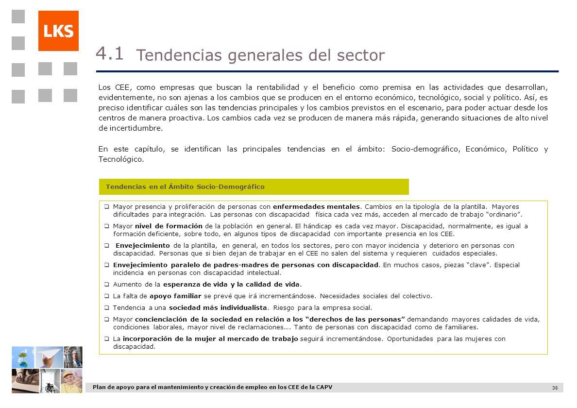 Plan de apoyo para el mantenimiento y creación de empleo en los CEE de la CAPV 36 Los CEE, como empresas que buscan la rentabilidad y el beneficio com