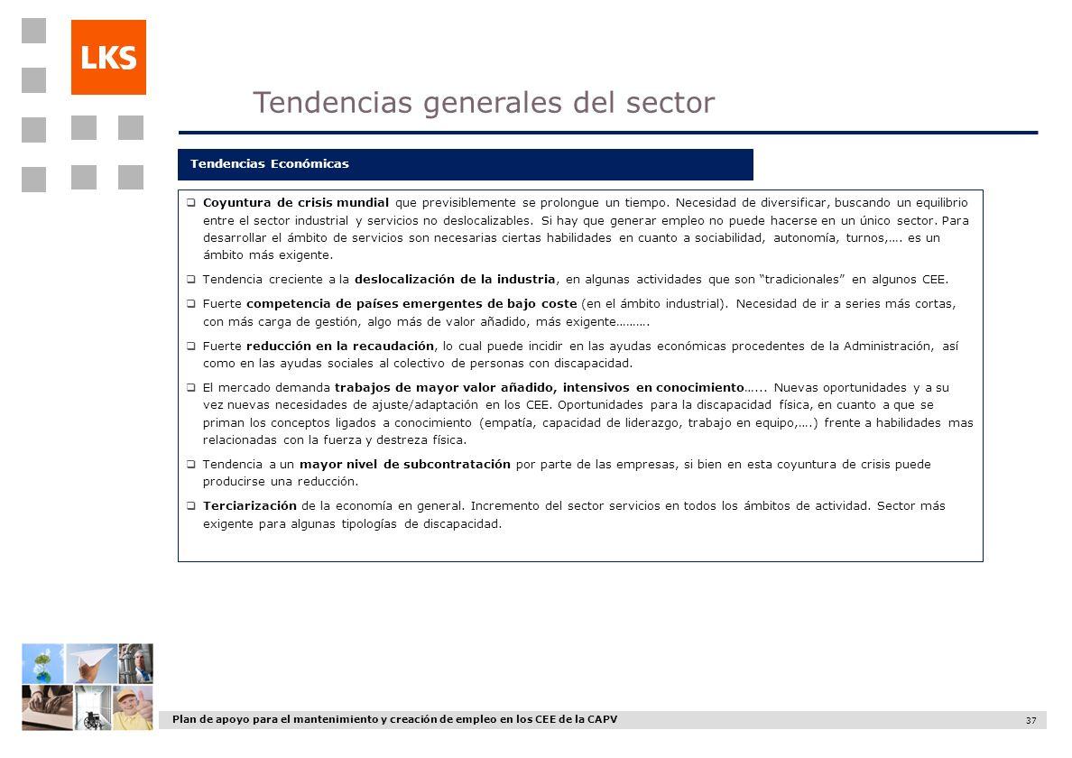 Plan de apoyo para el mantenimiento y creación de empleo en los CEE de la CAPV 37 Tendencias generales del sector Coyuntura de crisis mundial que prev