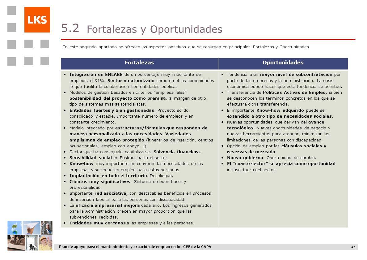 Plan de apoyo para el mantenimiento y creación de empleo en los CEE de la CAPV 47 En este segundo apartado se ofrecen los aspectos positivos que se re