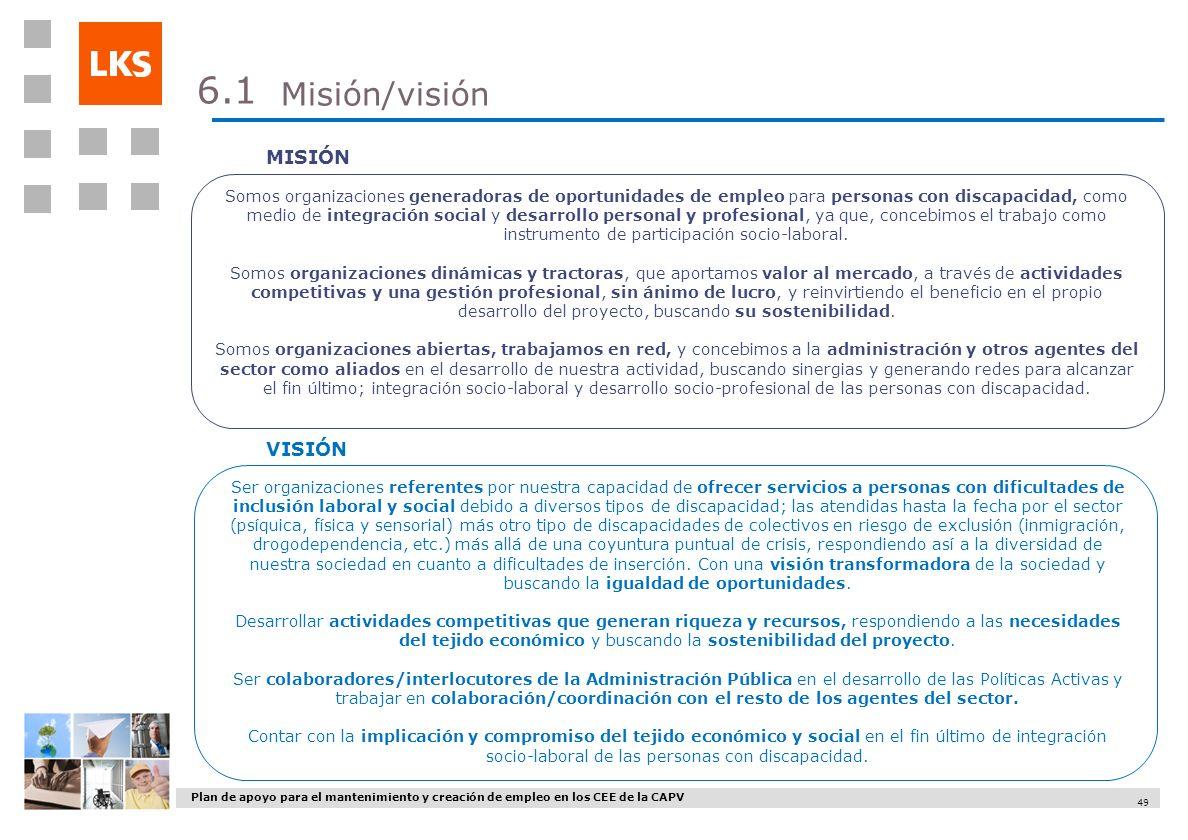 Plan de apoyo para el mantenimiento y creación de empleo en los CEE de la CAPV 49 Somos organizaciones generadoras de oportunidades de empleo para per