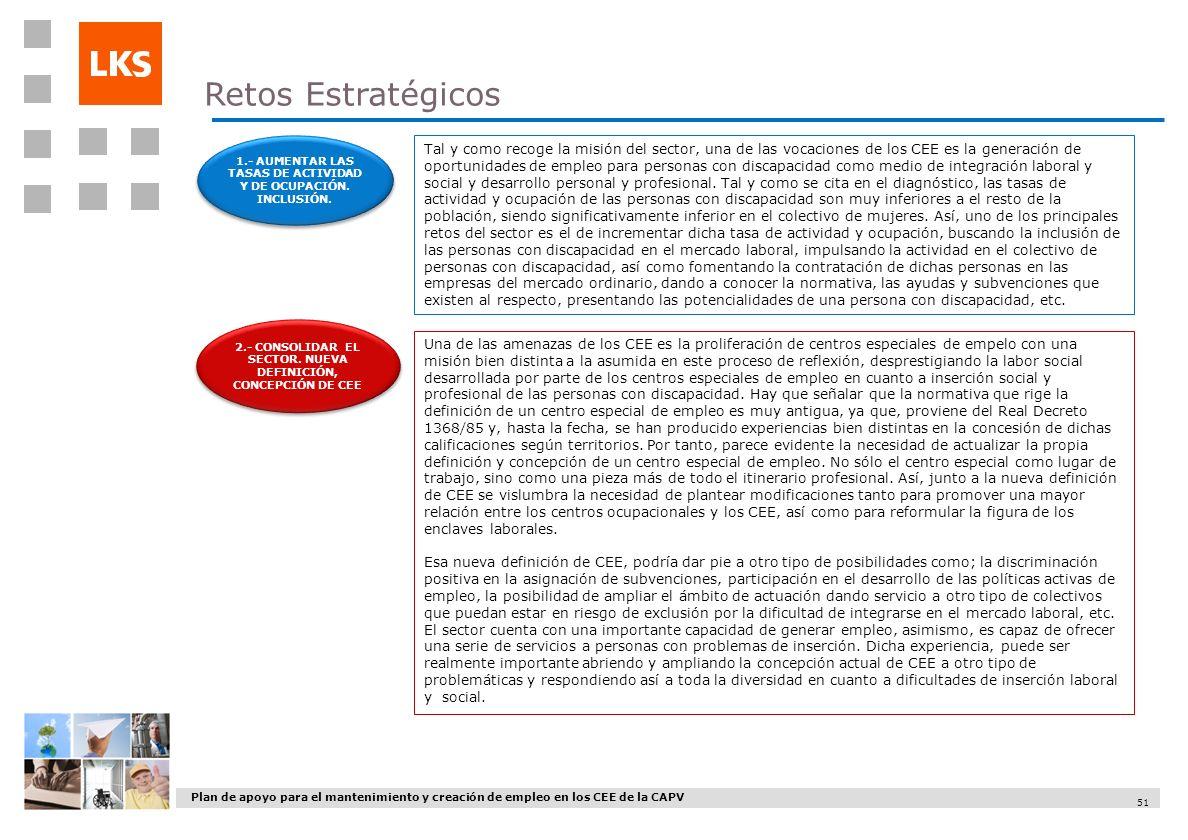 Plan de apoyo para el mantenimiento y creación de empleo en los CEE de la CAPV 51 2.- CONSOLIDAR EL SECTOR. NUEVA DEFINICIÓN, CONCEPCIÓN DE CEE 1.- AU