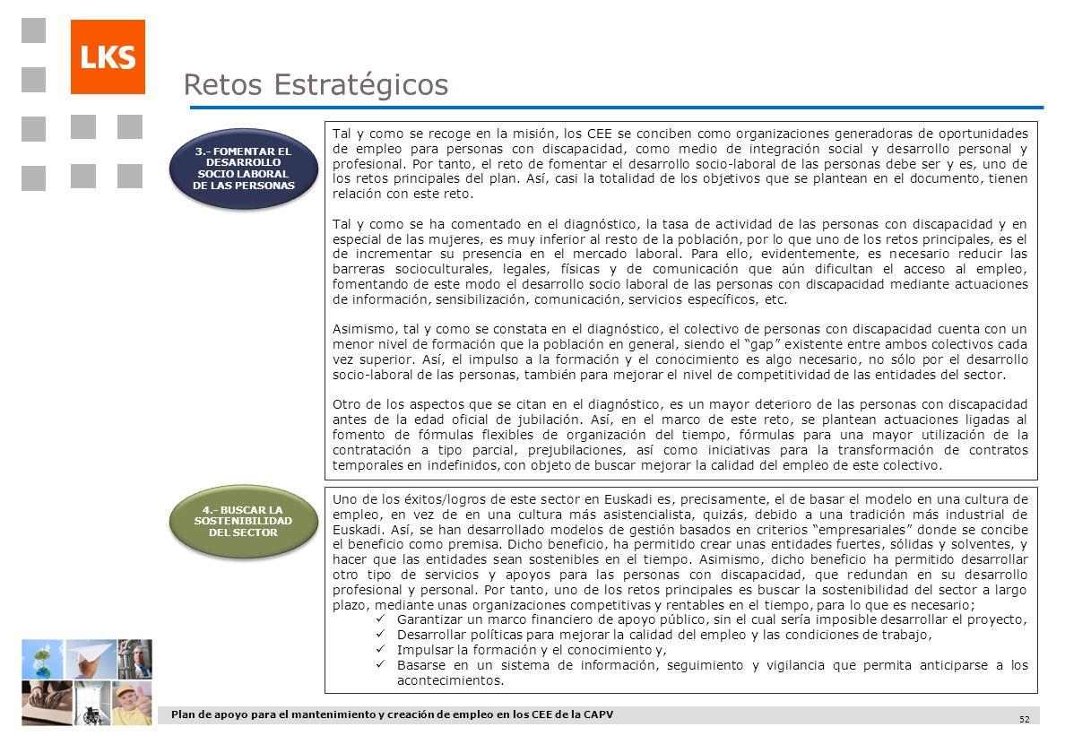 Plan de apoyo para el mantenimiento y creación de empleo en los CEE de la CAPV 52 4.- BUSCAR LA SOSTENIBILIDAD DEL SECTOR Retos Estratégicos Tal y com
