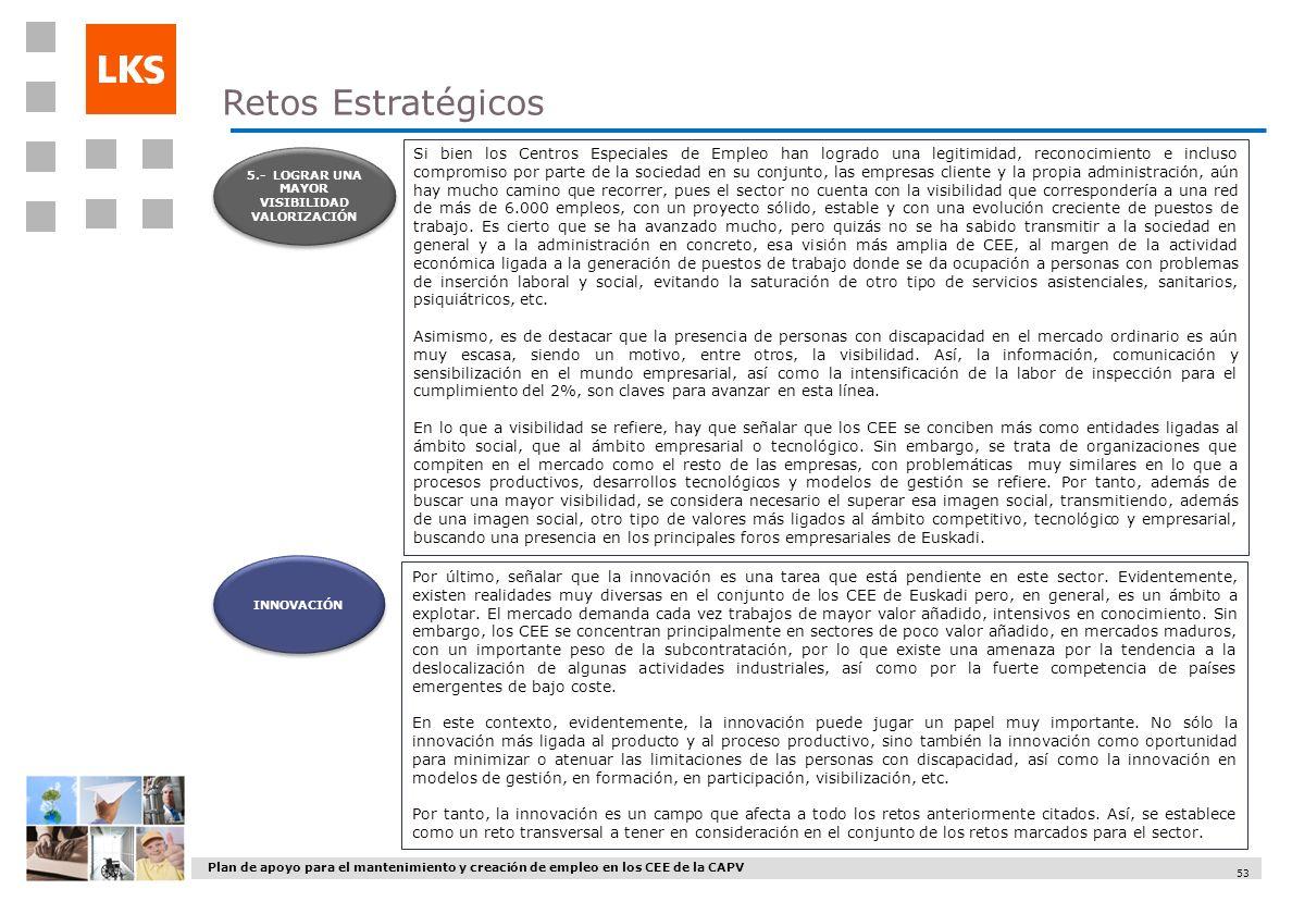 Plan de apoyo para el mantenimiento y creación de empleo en los CEE de la CAPV 53 INNOVACIÓN 5.- LOGRAR UNA MAYOR VISIBILIDAD VALORIZACIÓN Retos Estra
