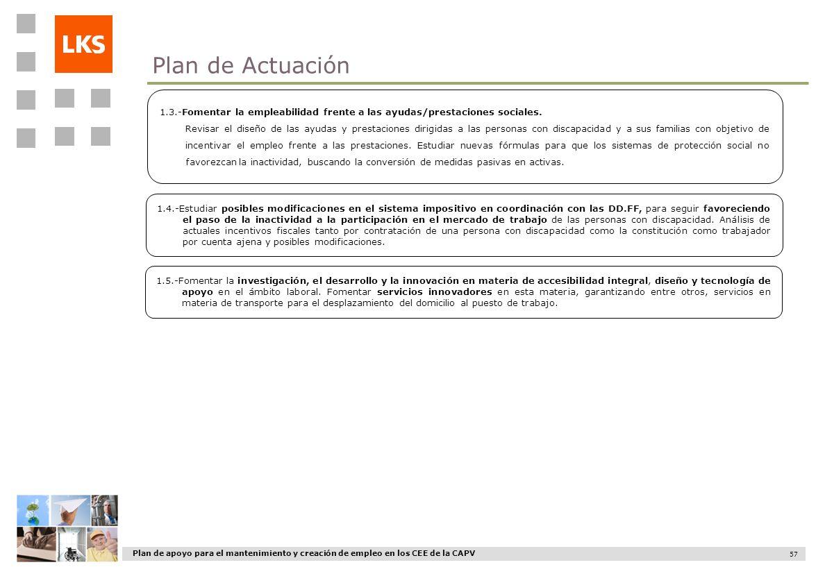 Plan de apoyo para el mantenimiento y creación de empleo en los CEE de la CAPV 57 1.3.-Fomentar la empleabilidad frente a las ayudas/prestaciones soci