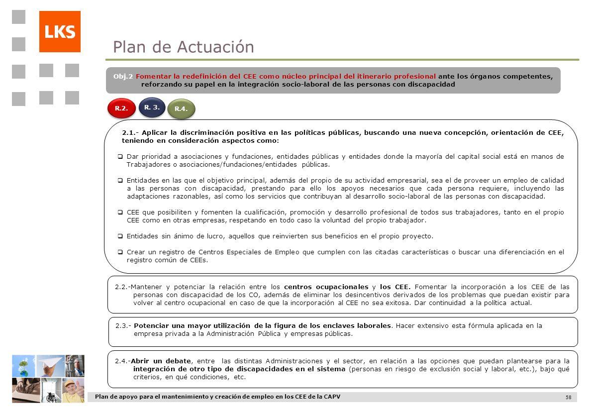 Plan de apoyo para el mantenimiento y creación de empleo en los CEE de la CAPV 58 R.2. R.4. 2.1.- Aplicar la discriminación positiva en las políticas