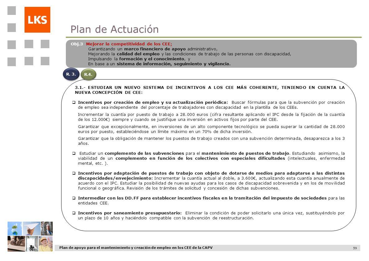 Plan de apoyo para el mantenimiento y creación de empleo en los CEE de la CAPV 59 3.1.- ESTUDIAR UN NUEVO SISTEMA DE INCENTIVOS A LOS CEE MÁS COHERENT