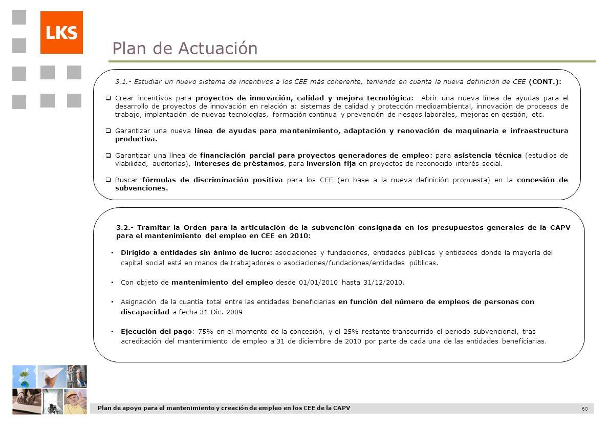 Plan de apoyo para el mantenimiento y creación de empleo en los CEE de la CAPV 60 3.1.- Estudiar un nuevo sistema de incentivos a los CEE más coherent