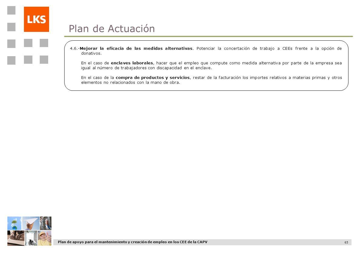 Plan de apoyo para el mantenimiento y creación de empleo en los CEE de la CAPV 65 4.6.-Mejorar la eficacia de las medidas alternativas. Potenciar la c