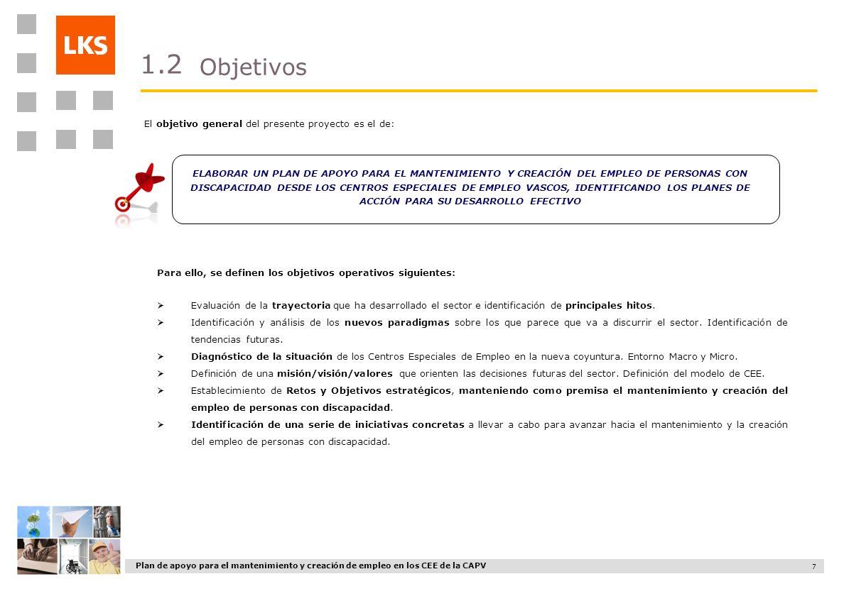Plan de apoyo para el mantenimiento y creación de empleo en los CEE de la CAPV 7 Objetivos 1.2 ELABORAR UN PLAN DE APOYO PARA EL MANTENIMIENTO Y CREAC