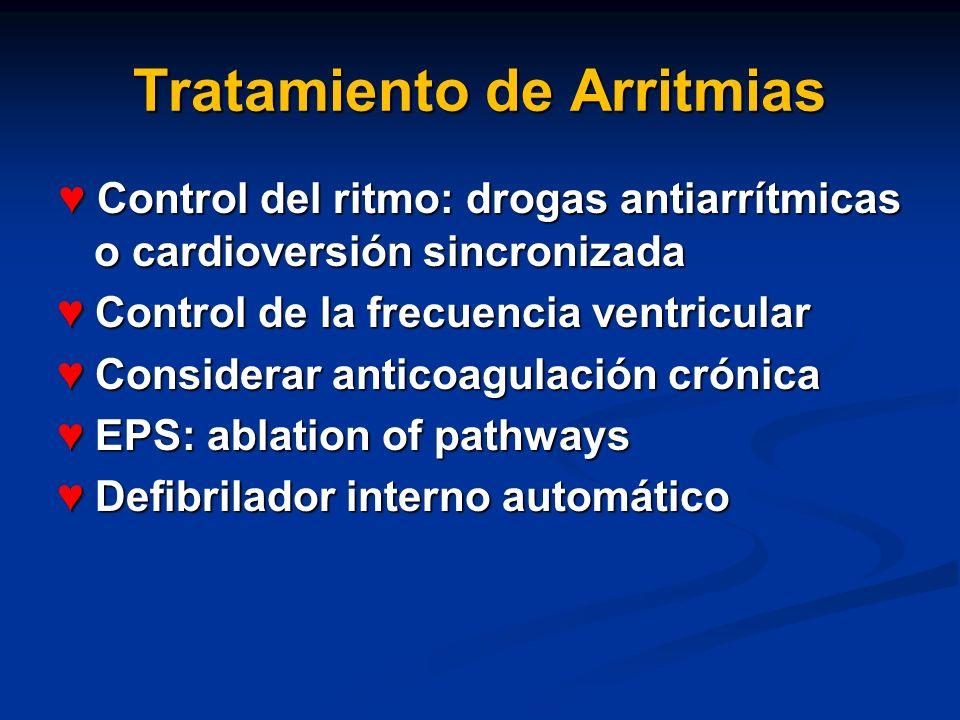 Tratamiento de Arritmias Control del ritmo: drogas antiarrítmicas o cardioversión sincronizada Control del ritmo: drogas antiarrítmicas o cardioversió