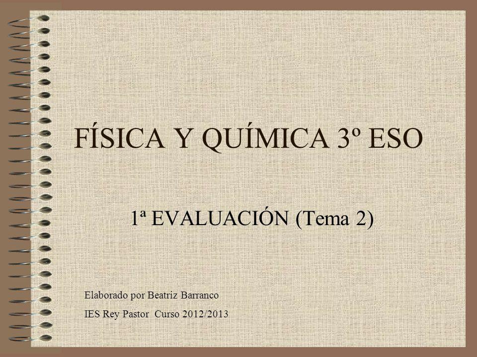 FÍSICA Y QUÍMICA 3º ESO 1ª EVALUACIÓN (Tema 2) Elaborado por Beatriz Barranco IES Rey Pastor Curso 2012/2013