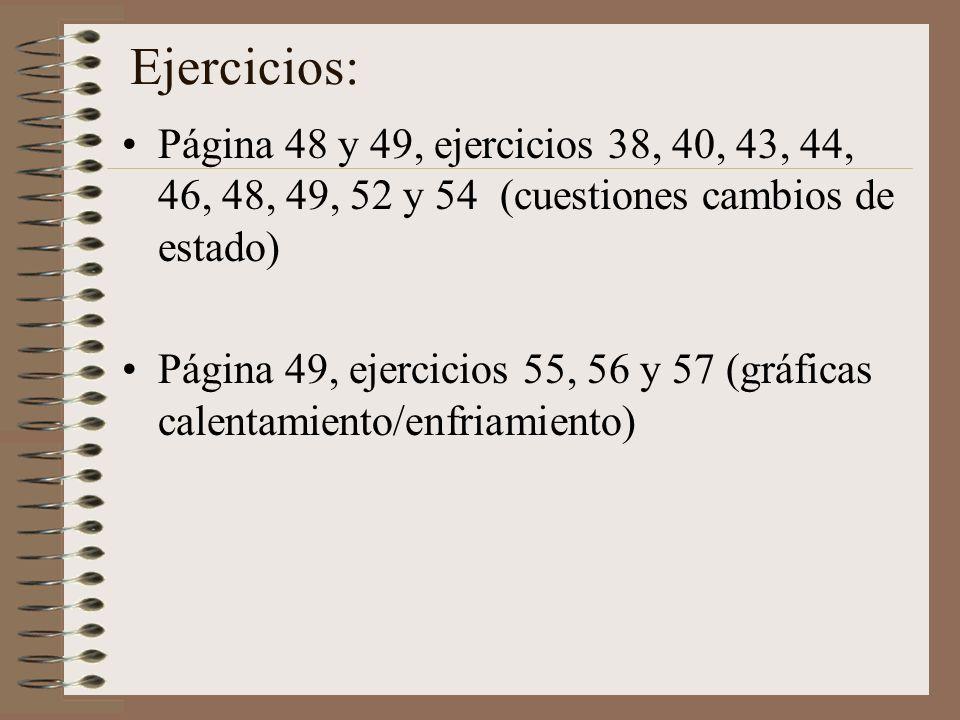 Ejercicios: Página 48 y 49, ejercicios 38, 40, 43, 44, 46, 48, 49, 52 y 54 (cuestiones cambios de estado) Página 49, ejercicios 55, 56 y 57 (gráficas