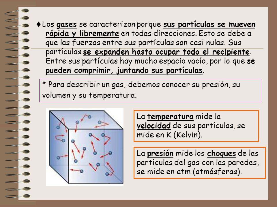 Los gases se caracterizan porque sus partículas se mueven rápida y libremente en todas direcciones. Esto se debe a que las fuerzas entre sus partícula