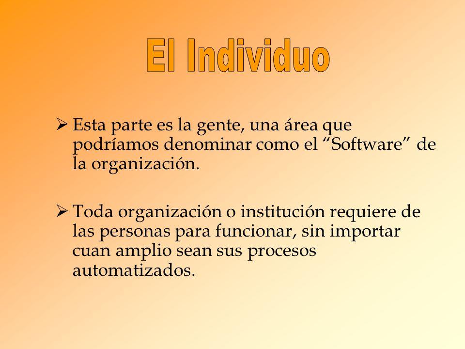 Esta parte es la gente, una área que podríamos denominar como el Software de la organización. Toda organización o institución requiere de las personas