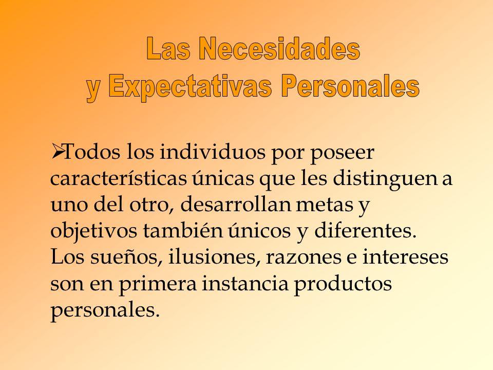 Todos los individuos por poseer características únicas que les distinguen a uno del otro, desarrollan metas y objetivos también únicos y diferentes.